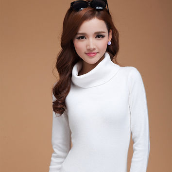 winter turtleneck 100% cashmere sweater female design slim wool basic heap turtleneck sweater women solid color basin
