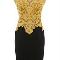 Gold Formal Dress - Sheer Back Lace Pencil Dress | UsTrendy