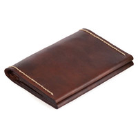 Ultra Thin Leather Wallet, Men Brown Rustic Pouch, Small Bifold Wallet