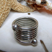 Taxco Sterling Silver Wire Coil Wrap Ring  8.26g  Size 5
