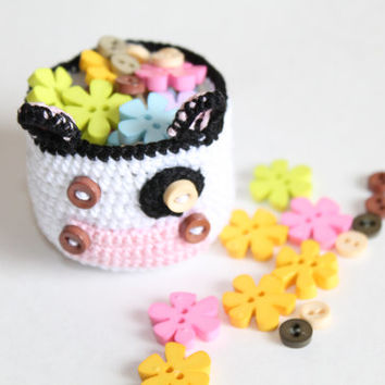 A Tiny Cow Basket (handmade; small container; crochet)