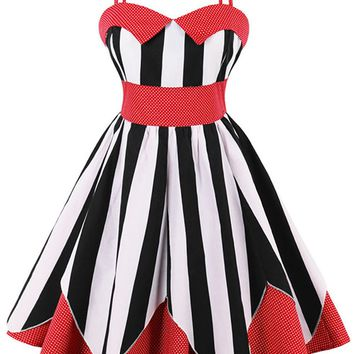 Atomic Red Striped and Dotted Swing Dress