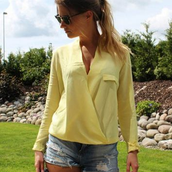 Cross-Dipped Chiffon Blouse - Yellow
