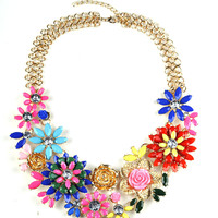 NEW alloy colorful flower choker necklace European Statement Neklace women jewelry  necklaces&pendants -03327