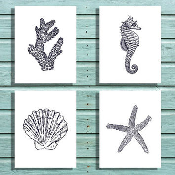 Four Digital Prints 8x10 Navy Sea Life Collection, Coral, Seahorse, Shell, and Starfish. Printable Home Nursery Kids Office Decor, Wall art