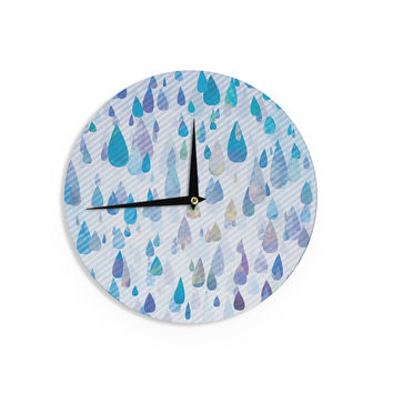 "Noonday Design ""Rain Storm"" Digital Purple Wall Clock"