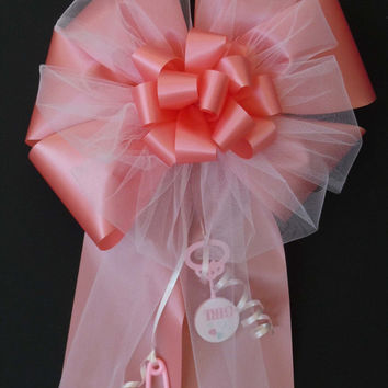 It's a Girl Bow Pink Shower Bow For Baby Girl, Indoor / Outdoor Pink Water Resistant Bow for Newborn Baby Girls, Party Door Decoration Bow