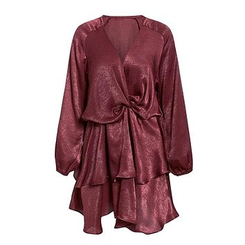 Don't Be Afraid Wine Red Long Lantern Sleeve Cross Wrap V Neck Tiered Flare A Line Mini Dress