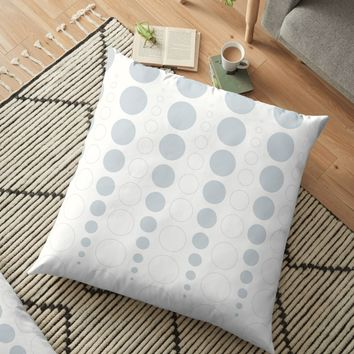 'Up and down polka dot pattern, white and ice gray' Floor Pillow by VrijFormaat