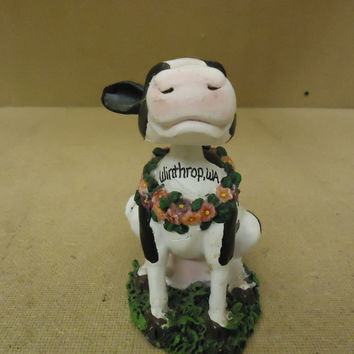 Topline Products Inc. Figurine Black/White/Green Bobbin Friend Cow Porcelain -- Used