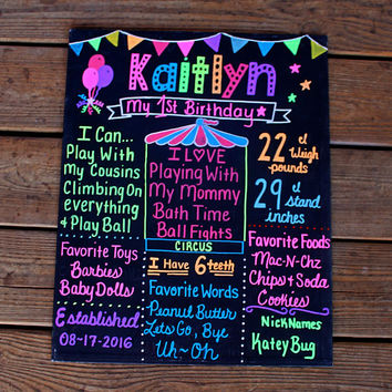 Carnival 1st birthday Chalkboard - Circus Birthday Chalkboard - Rainbow Birthday Chalkboard - 1st birthday Circus - First Birthday Stats -