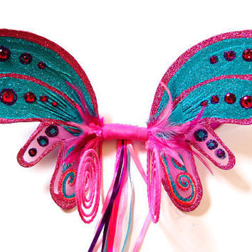 pink and turquoise fairy wings 2062 by fairyloveboutique on Etsy