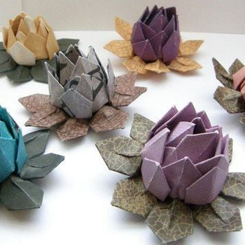12 Multicolored Water Lilies Lotus Origami by PullingPetals