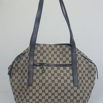 Gucci GG Navy Blue Grey Canvas Drawstring Shopper Tote Shoulder Bag Handbag