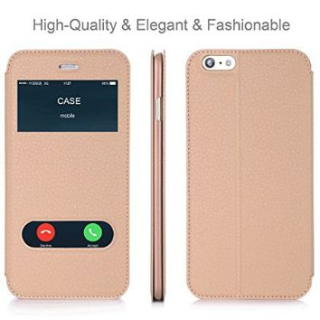 """iPhone 6 6S Case, AVAWO Creative Smart Window View Touch Front Flip Cover Ultra Thin Folio Case for iPhone 6 6S 4.7"""" (Black)"""