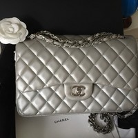 Chanel Classic Silver Lambskin Double Flap Bag with Silver Hardware