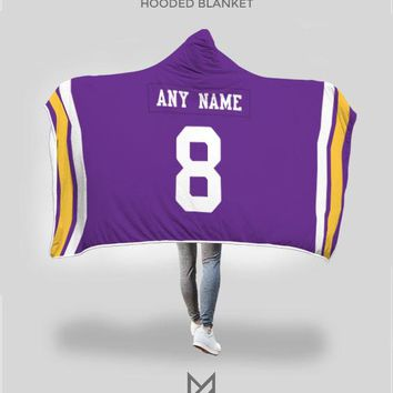 Minnesota Vikings Hooded Blanket - Personalized Any Name & Any Number