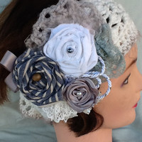 Women's Crochet Headband with Floral Embellishment, Angel hair trim, Lace, Satin, Linen, and Denim