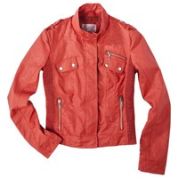 Xhilaration® Junior's Side Ruched Faux Leather Jacket -Assorted Colors
