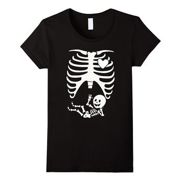 Maternity Skeleton Ribs Halloween T-Shirt Funny Pregnancy