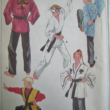 "Vintage Simplicity Pattern RARE The Karate Kid Official Columbia Pictures Kimono Fighting Costumes to Sew Chest Sizes 32 - 46"" UNCUT"