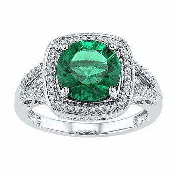 10kt White Gold Women's Round Lab-Created Emerald Solitaire Square Diamond Frame Ring 4-1/6 Cttw - FREE Shipping (US/CAN)