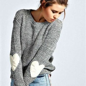 Heart Patched Elbow Sweater