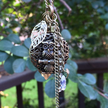 Owl Essential Oil Diffuser Locket~Necklace~Aromatherapy