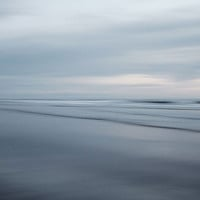 Oceania - Abstract Seascape, Pacific Ocean, Landscape Photography in Muted Blue Gray, Sea, Nature, Nautical, Waves, Clouds, Minimal