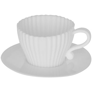 Evelots Silicone Baking Teacups With Saucers-Cupcake Mold-Tea Set-Reusable-24 PCS