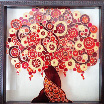 """Tree of life art 11""""x11"""" Glass painting Stained glass Bohemian decor"""