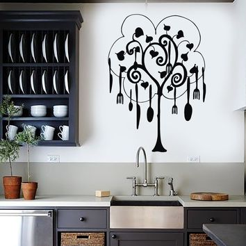 Vinyl Wall Decal Tree Cutlery Kitchen Restaurant Housewife Art Stickers Unique Gift (030ig)