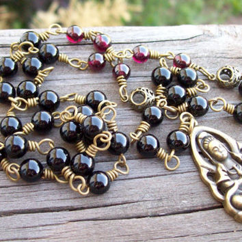 Y-Style Beaded Necklace in Black Onyx and Garnet with Antique Bronze Goddess of Mercy Guanyin Buddha Pendant
