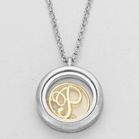"Floating Monogram ""P"" Necklace Silver"