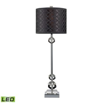 Chamberlain LED Table Lamp In Chrome And Clear Crystal With Laser Cut Shade Chrome,Clear Crystal