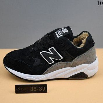 ONETOW cxon new balance nb580 cashmere shoes keep warm black white for women men running sport casual shoes sneakers