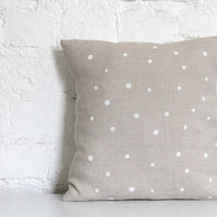 Hand Printed Linen Cushion Cover - White Dots