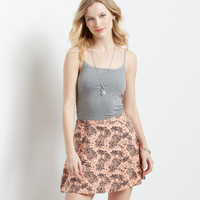 Tropical Button-Front Skirt