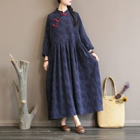 Johnature Women Chinese Dress Vintage Cotton Linen Robes Stand Long Sleeve Button Jacquard 2018 Autumn New Loose Casual Dresses