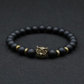 8mm Silver Plated Animal Owl Head Bracelet With Natural Black Lava Rock Stone Energy Men Beaded Bracelets For Women A-8