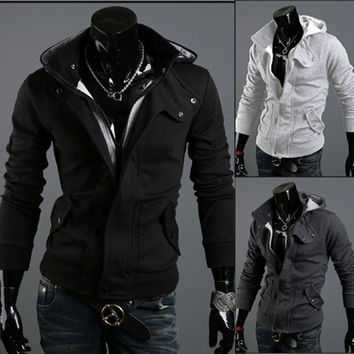 Free Shipping 2016 Autumn & Winter Fashion Casual Slim Cardigan Assassin Creed Hoodies Sweatshirt Outerwear Jackets Men Brand
