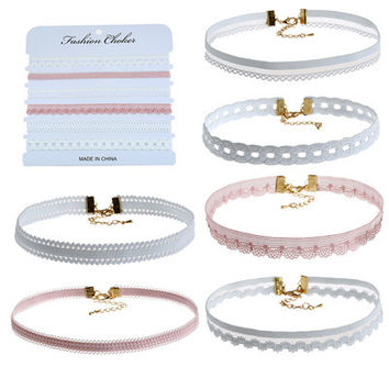JL Korean Fashion Cute Lace Velvet Choker Necklace For Women Harajuku Ribbons Collar Necklaces Jewerly 6PC/SET