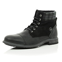 River Island MensBlack leather plaid ankle military boots