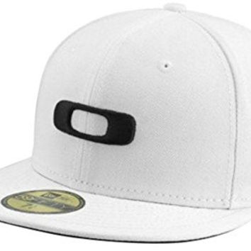 Oakley Men's Square O New Era 59Fifty Fitted Hat Cap - White/Black (7 1/8)
