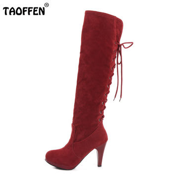Size 32-48 Women High Heel Over Knee Boots Ladies Riding Fashion Long Snow Boot Warm Winter Botas Heels Footwear Shoes P6782