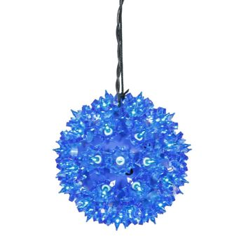 """6"""" Blue Lighted Starlight Hanging Sphere Christmas Ball Decoration"""