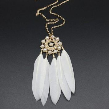 Feather Tassel Faux Pearl Sweater Chain - White