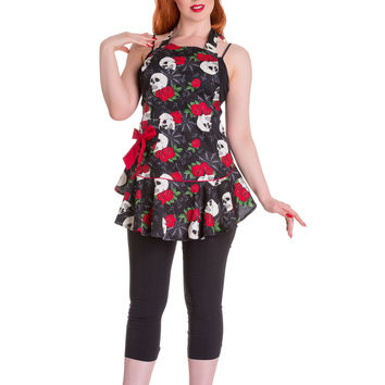 Hell Bunny Rockabilly Mom Skull & Rose with Red Bow Kitchen Love Apron