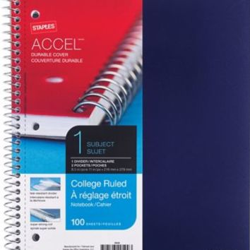Staples Accel Durable Poly Cover 1 Subject Notebook College Ruled 8 1 2 x 11 Blue 20951M CC | Staples