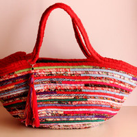 Lady in Red, Red Patchwork Basket Summer Bag, BOHOCHIC Bag, Handmade Basket Summer Bag